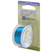 Artistic Wire Peacock Blue Silver Plated 28ga (15-Yd)