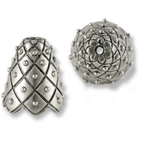 Bead Cap XX 14x17mm Pewter Antique Silver Plated