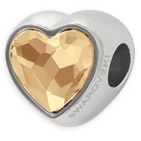 Swarovski BeCharmed 81951 14mm Crystal Golden Shadow Heart Bead (1-Pc)