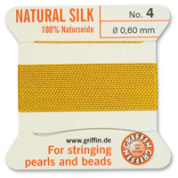 #4 Amber Griffin Silk Bead Cord (2 Meters)