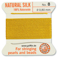 #8 Amber Griffin Silk Bead Cord (2 Meters)
