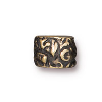 Jardin Barrel Bead 7.8mm Pewter Brass Oxide  (1-Pc)