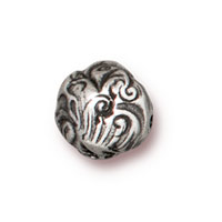 8mm Antique Pewter Round Jardin Bead (1-Pc)