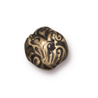 Round Jardin Bead 8mm Pewter Brass Oxide (1-Pc)