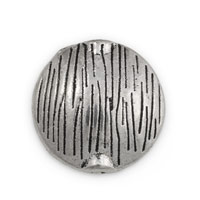 16mm Pewter Textured Puffed Round Bead (1-Pc)
