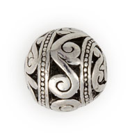 15mm Pewter Scroll Bali Style Bead (1-Pc)
