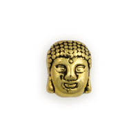 11x9 Gold Plated Pewter Buddha Head Bead (1-Pc)