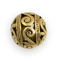 15mm Gold Plated Pewter Scroll Bali Style Bead (1-Pc)