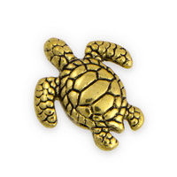 18x16m Gold Plated Pewter Turtle Bead (1-Pc)