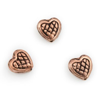 8x8mm Copper Heart Bead with Cross Hatch (1-Pc)