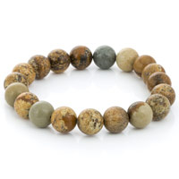 Picture Jasper Bead 7-½ Inch Stretch Bracelet (1-Pc)
