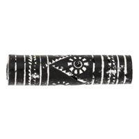 40mm Black & White Tube Terra Cotta Clay Bead (5-Pcs)