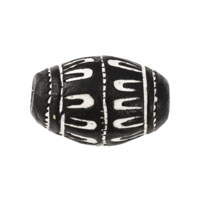 18mm Black & White Oval Terra Cotta Clay Bead (6-Pcs)