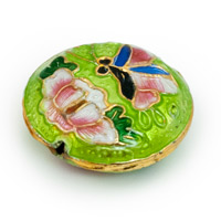 19mm Lime Green & Pink Butterfly Round Cloisonne Bead (1-Pc)