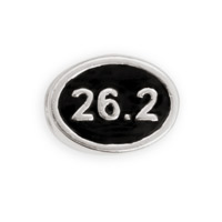 26.2 Mile Marathon  Bead 12x9mm Sterling Silver