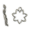 Toggle Clasp - Flower 17x24mm Pewter Antique Silver Plated (Set)