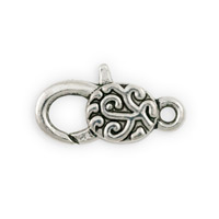 Pewter Lobster Clasp with Flower 30x13mm (1-Pc)
