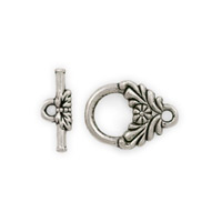 Pewter Toggle Clasp with Flower 16x11mm (1-Pc)