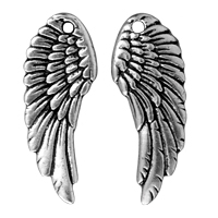 Wing Charm 27x10mm Pewter Antique Silver Plated (1-Pc)