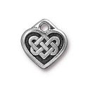 Celtic Heart Charm 14m Pewter Antique Silver Plated