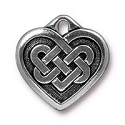 Celtic Heart Charm 19m Pewter Antique Silver Plated