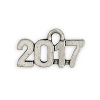 Antique Silver Plated 2017 Pewter Charm 15x9mm  (1-Pc)