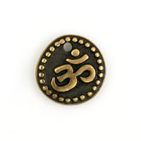 Charm - Om 10mm Pewter Antique Brass Plated (1-Pc)