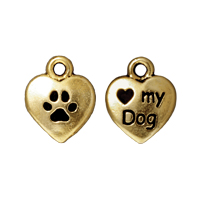 Charm - Love My Dog 10mm Pewter Antique Gold Plated (1-Pc)
