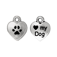 Charm - Love My Dog 10mm Pewter Antique Silver Plated (1-Pc)