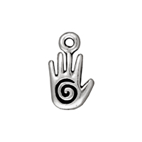 Charm - Spiral Hand Drop 10x8mm Pewter Antique Silver Plated (1-Pc)