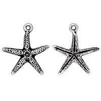 Starfish Charm 16x18mm Pewter Antique Silver Plated (1-Pc)