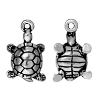 Turtle Drop Charm 18x11mm Pewter Antique Silver Plated (1-Pc)