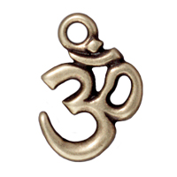 Charm - Om 14x18mm Pewter Antique Brass Plated (1-Pc)
