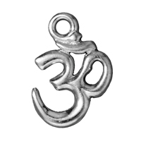 Charm - Om 14x18mm Pewter Bright Rhodium Plated (1-Pc)