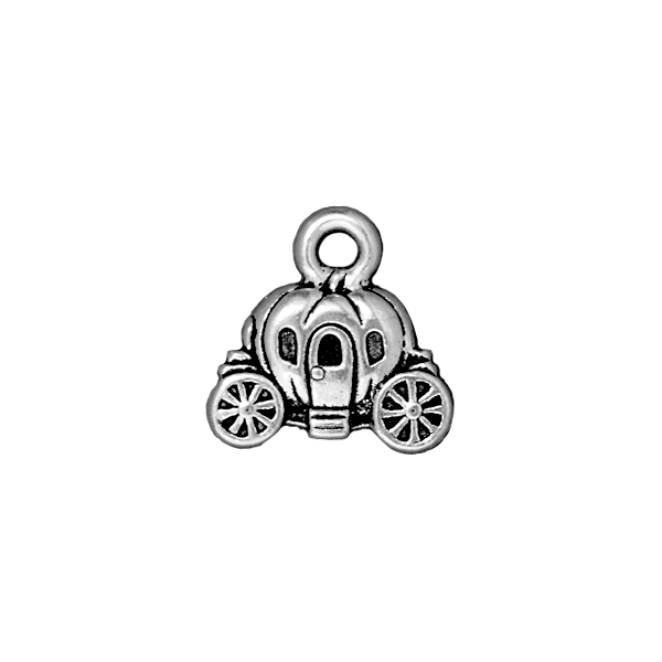Carriage Charm 15x15mm Pewter Antique Silver Plated (1-Pc)