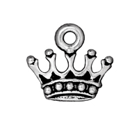 Charm - King's Crown 15x14mm Pewter Antique Silver Plated (1-Pc)