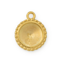 12mm Bright Gold Plated Pewter Round Frame Charm (1-Pc)