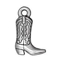 Western Boot Charm 19x12mm Pewter Antique Silver Plated (1-Pc)