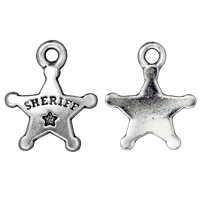 Charm - Sheriff's Badge 19x15mm Pewter Antique Silver Plated (1-Pc)