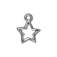Charm - Open Star 10mm Bright Rhodium Plated (1-Pc)