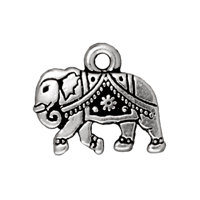 Charm - Gita the Elephant 12x15mm Pewter Antique Silver Plated (1-Pc)