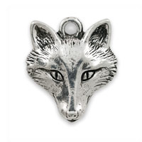 Fox Head Charm 17x15mm Pewter Antique Silver Plated (1-Pc)