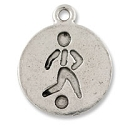 Soccer Player Charm 19x16mm Pewter Antique Silver Plated (1-Pc)