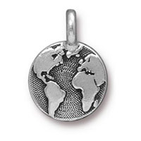 Earth Charm with Loop 11.6mm Antique Silver Plated (1-Pc)