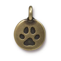 Paw Print Charm with Loop 11.6mm Antique Brass Plated (1-Pc)