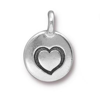Heart Charm with Loop 11.6mm Antique Silver Plated (1-Pc)