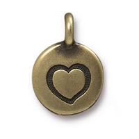 Heart Charm with Loop 11.6mm Antique Brass Plated (1-Pc)