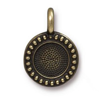 Beaded Bezel Charm 11.6mm Antique Brass Plated (1-Pc)