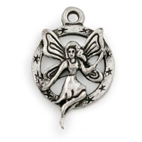 Fairy in Circle Charm 15x23mm Antique Silver Plated (1-Pc)