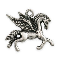 Pegasus Charm 19x23mm Antique Silver Plated (1-Pc)